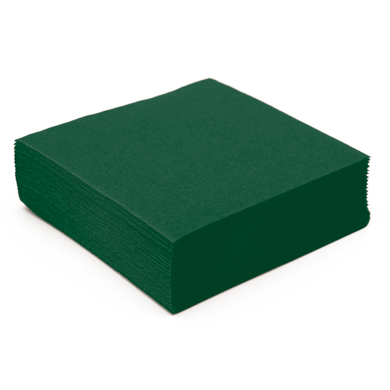 Serviette de table en papier vert sapin microgaufr double for Nappe et serviettes de table