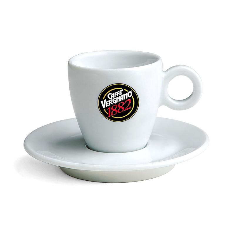 6 tasses en porcelaine blanche de la marque caff vergnano. Black Bedroom Furniture Sets. Home Design Ideas